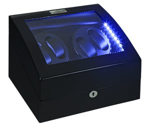 Diplomat Black Edition Four Watch Winder with LED's - Watch Box Co. - 2