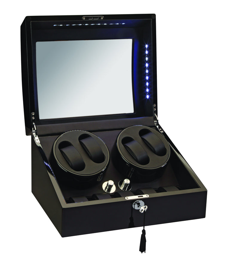 Diplomat Black Edition Four Watch Winder with LED's - Watch Box Co. - 1