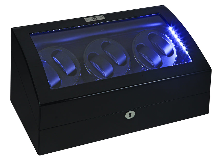 Diplomat Black Edition Six Watch Winder with LED's - Watch Box Co. - 1