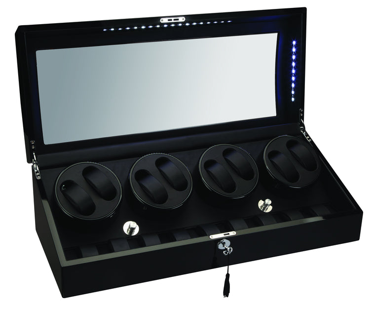 Diplomat Black Edition Eight Watch Winder with LED's - Watch Box Co. - 1