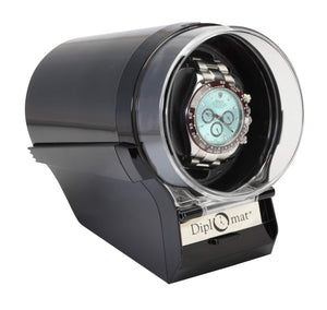 Diplomat Black Single Watch Winder with 12 Programmed Settings