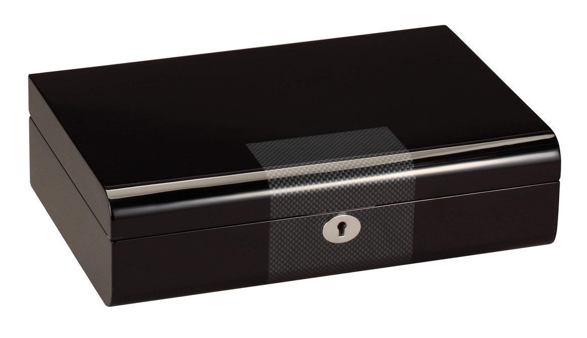 Diplomat 10 Piano Black Wood Watch Case With Carbon Fiber Accent Trim - Watch Box Co. - 2
