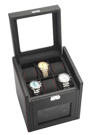 Diplomat Black Carbon Fiber Pattern Single Watch Winder & 6 Watch Additional Storage