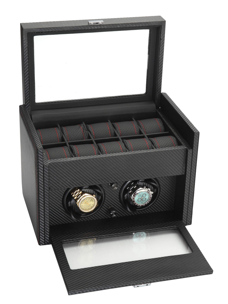 Diplomat Black Carbon Fiber Pattern Double Watch Winder & 10 Watch Additional Storage