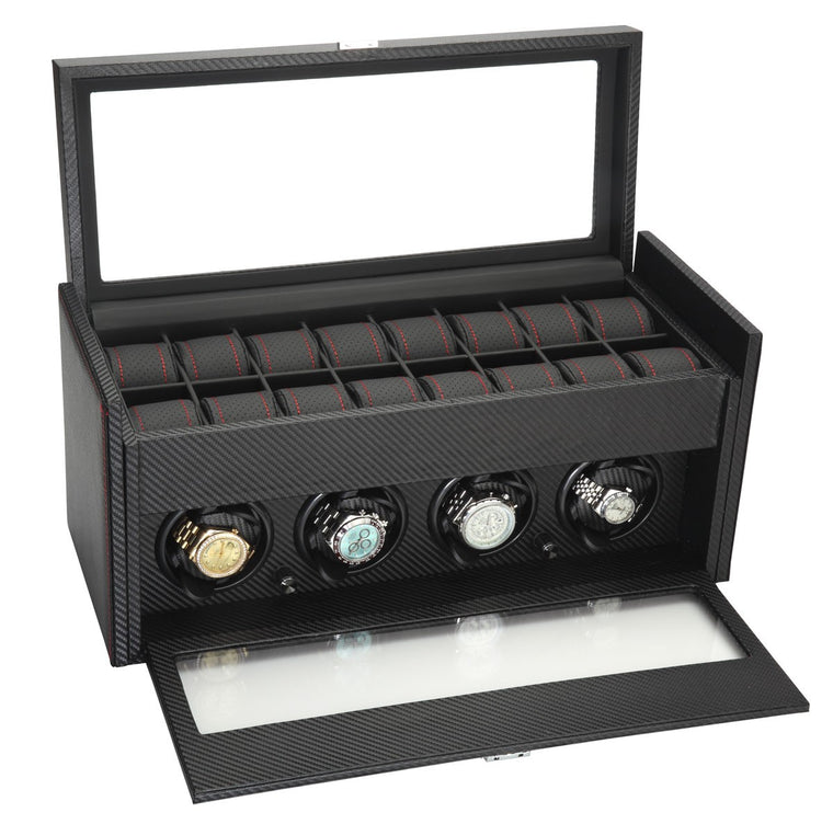Diplomat Black Carbon Fiber Pattern Four Watch Winder & 16 Watch Additional Storage