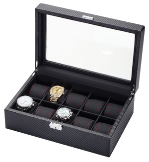 10 Piece Carbon Fiber Watch Box With Red Stitch Trim - Watch Box Co. - 2