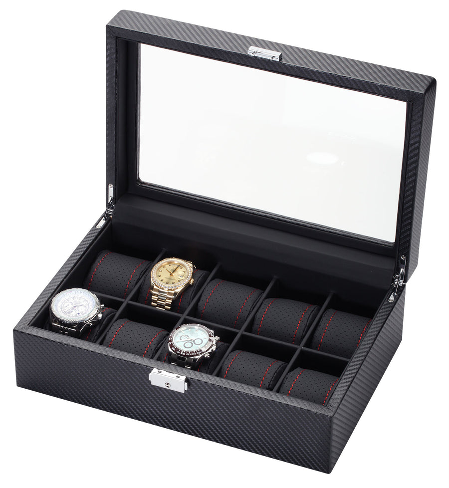 10 Piece Carbon Fiber Watch Box With Red Stitch Trim - Watch Box Co. - 1