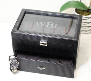 20 Piece Carbon Fiber Watch Box With Red Stitch Trim - Watch Box Co. - 4