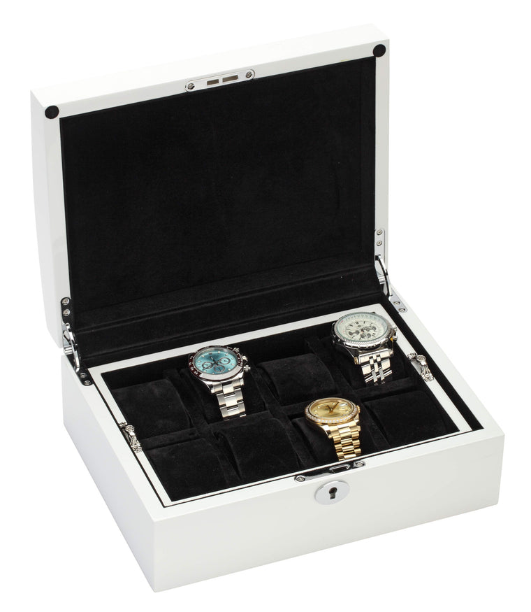 Diplomat White Finish Eight Wood Watch Box with Black Suede Interior and Locking Lid