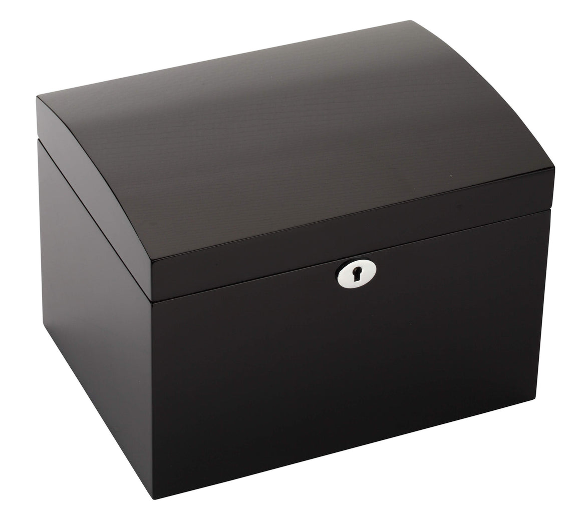 Diplomat Black Finish Sixteen Wood Watch Box with Cream Leather Interior and Locking Lid