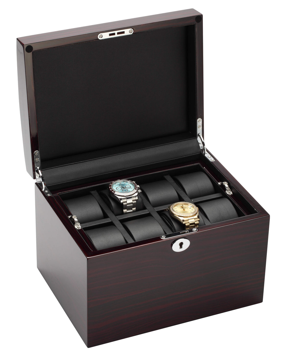 Diplomat Ebony Finish Sixteen Wood Watch Box with Black Leather Interior and Locking Lid
