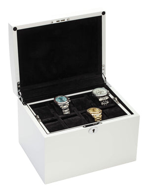 Diplomat White Gloss Finish Sixteen Wood Watch Box with Black Suede Interior and Locking Lid