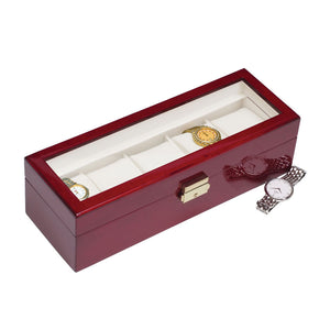 (5) Rosewood Watch Box w/ Glass Top - Watch Box Co. - 2