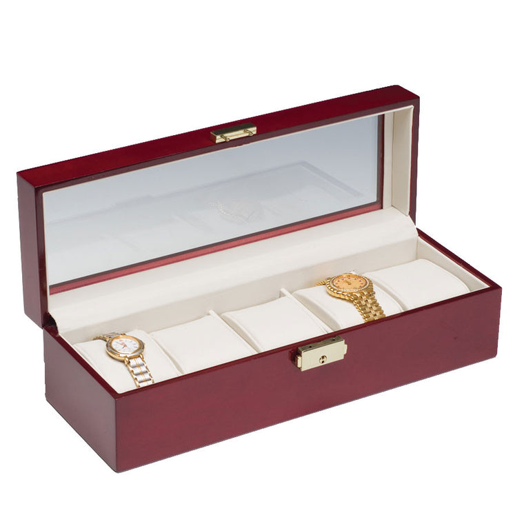 (5) Rosewood Watch Box w/ Glass Top - Watch Box Co. - 1