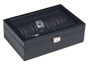 (10) Carbon Fiber Pattern Leather Watch Box with Glass Top - Watch Box Co. - 2