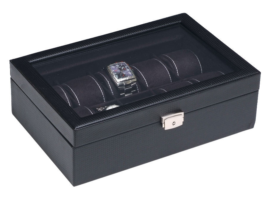 (10) Carbon Fiber Pattern Leather Watch Box with Glass Top - Watch Box Co. - 1