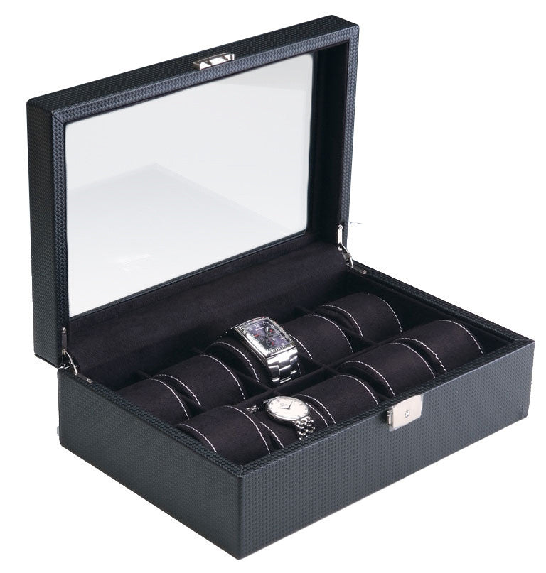 822bbd11bdc (10) Carbon Fiber Pattern Leather Watch Box with Glass Top - Watch Box Co