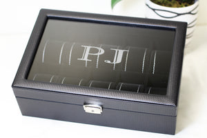 (10) Carbon Fiber Pattern Leather Watch Box with Glass Top - Watch Box Co. - 3