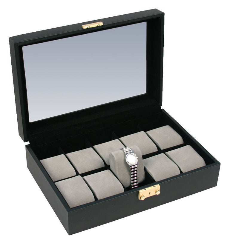 (10) Black Leather watch box - Watch Box Co. - 1