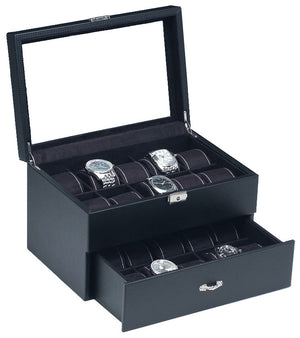 (20) Carbon Fiber Pattern Leather Watch Box with Glass Top - Watch Box Co. - 1