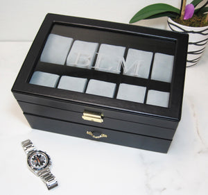 (20) Black Leather Watch Box with Clear Glass Top - Watch Box Co. - 3