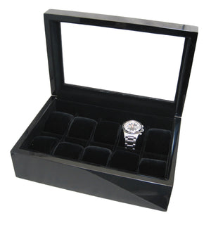 (10) High Gloss Carbon Fiber Wood Watch Box with Glass Top