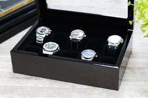 (10) Carbon Fiber Watch Box with Glass Top