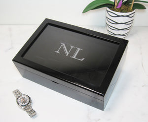 (10) Piano Black Wood Watch Box with Glass Top