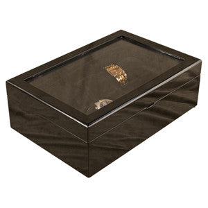(10) Piano Black Wood Watch Box with Glass Top - Watch Box Co. - 2