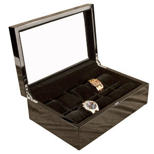 (10) Piano Black Wood Watch Box with Glass Top - Watch Box Co. - 1