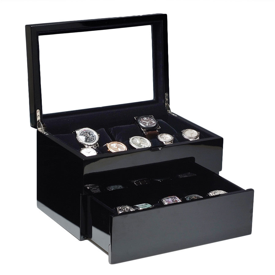 (17) Piano Black Wood Watch Box with Glass Top - Watch Box Co. - 1