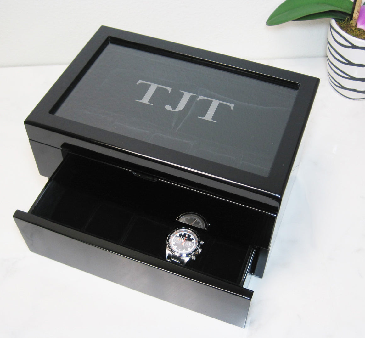 (17) Piano Black Wood Watch Box with Glass Top - Watch Box Co. - 2