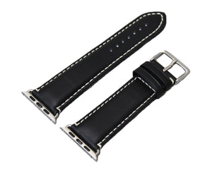 Mitri Genuine Leather Black Watch Strap With Contrast Stitching For Apple Watch - Watch Box Co. - 3