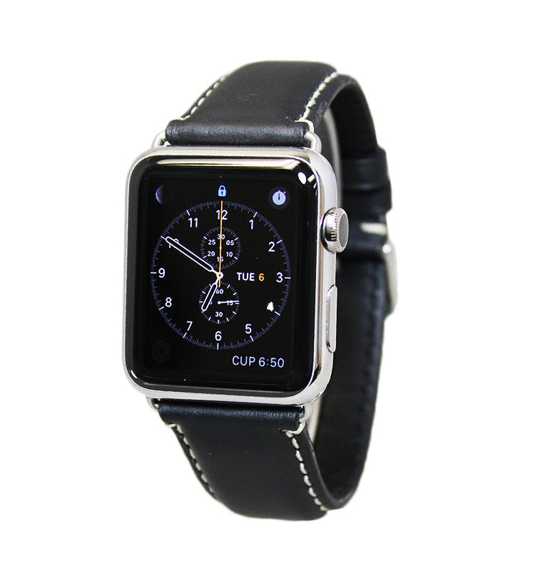 Mitri Genuine Leather Black Watch Strap With Contrast Stitching For Apple Watch - Watch Box Co. - 1