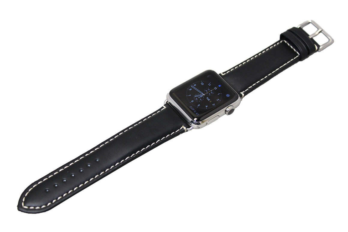 Mitri Genuine Leather Black Watch Strap With Contrast Stitching For Apple Watch - Watch Box Co. - 2