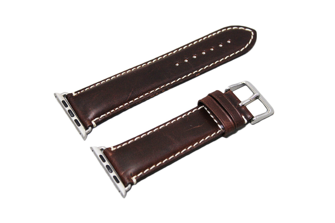 Mitri Genuine Leather Brown Watch Strap With Contrast Stitching For Apple Watch - Watch Box Co. - 3