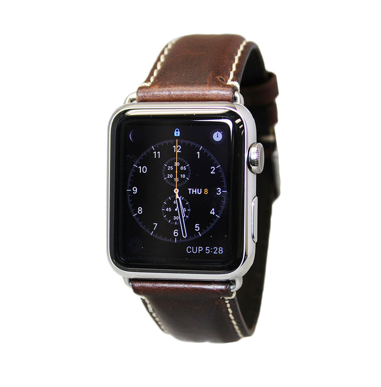 Mitri Genuine Leather Brown Watch Strap With Contrast Stitching For Apple Watch - Watch Box Co. - 1