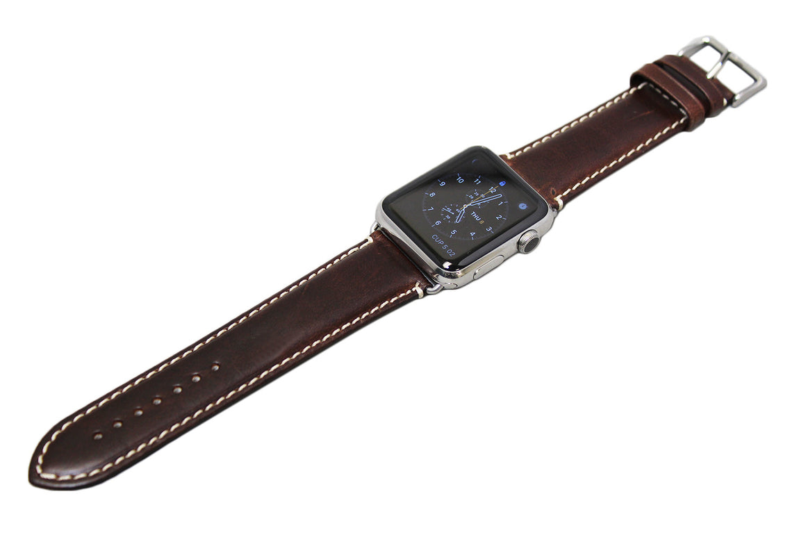 Mitri Genuine Leather Brown Watch Strap With Contrast Stitching For Apple Watch - Watch Box Co. - 2