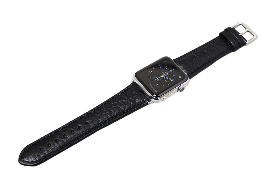 Mitri Genuine Grain Leather Black Watch Strap For Apple Watch - Watch Box Co. - 1