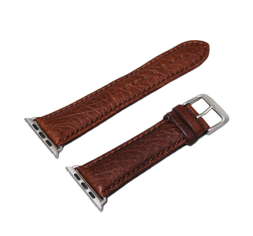 Mitri Genuine Grain Leather Brown Watch Strap For Apple Watch - Watch Box Co. - 3