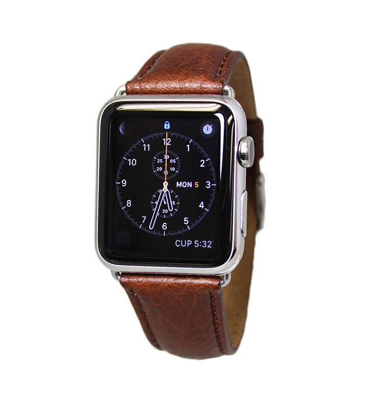Mitri Genuine Grain Leather Brown Watch Strap For Apple Watch - Watch Box Co. - 1