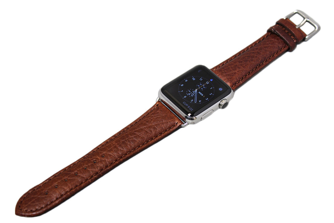 Mitri Genuine Grain Leather Brown Watch Strap For Apple Watch - Watch Box Co. - 2