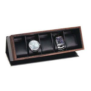 5 Carbon Fiber Watch Box with Wood Grain Trim