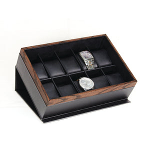 10 Carbon Fiber Watch Box with Wood Grain Trim