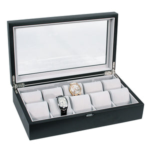 10 Satin Matte Black Finish Wood Watch Box with Glass Top