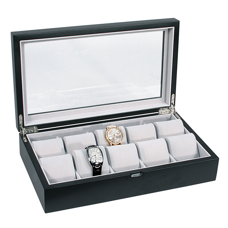 10 Matte Black Finish Wood Watch Box with Glass Top