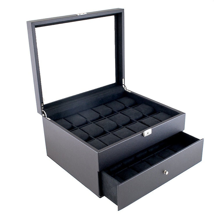 (36) Carbon Fiber Pattern Leather Watch Box with Glass Top - Watch Box Co. - 1