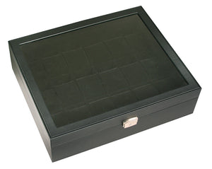(18) Black Leather Watch Box with Glass Top - Watch Box Co. - 2