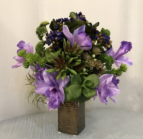 Artificial Kalanchoe, Cymbidium Orchid and Assorted Succulent Arrangement in Weave Textured Bronze Ceramic Vase, Purple and Green Color Centerpiece, Home Office Indoor Decor Plant, Handcrafted at the Floral Mart