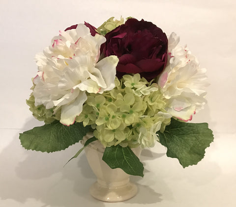 Peony and Hydrangea Arrangement in Ceamic Vase, Burgundy and Green, Office Home indoor decor Centerpiece, Handcrafted at thefloralmart